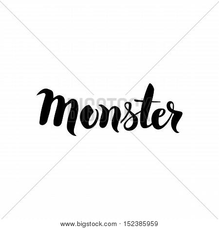 Monster Lettering. Vector Illustration of Hand Drawn Ink Calligraphy. Word Isolated over White Background.