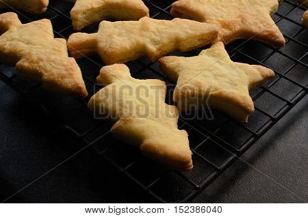 Christmas Shaped Home Made Biscuits On Cooling Rack