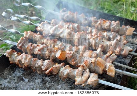 The process of preparation of a shish kebab on the grill. Chunks of roasted pork on metal sticks in the smoke. Close-up. Selective focus.