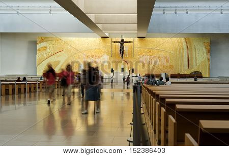 FATIMA, PORTUGAL - October 6, 2016: Pilgrims visiting the Basilica of the Most Hole Trinity in the Sanctuary of Our Lady of the Rosary in Fatima Portugal