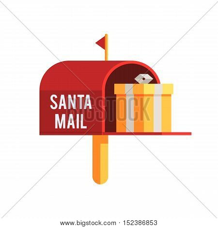 Christmas outdoor mailbox with gift box. Holiday mail a letter to Santa Claus. Christmas flat vector illustration icon for web design or greeting card