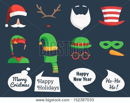 Christmas decoration collection face cut mask silhouette and speech bubbles, props and cute photo overlays. Santa hat, beard, glasses, horns, mask, speak bubble. Vector holidays illustration