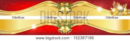 Luxurious Christmas and New Year web Leaderboard banners with Jingle bells, Christmas Baubles. Space for your own advertising.