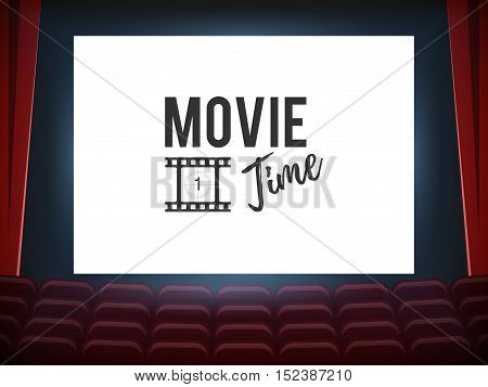 Cinema hall with white screen and red row chairs. Movie time concept. Vector Illustration for design template presentation web and printed materials
