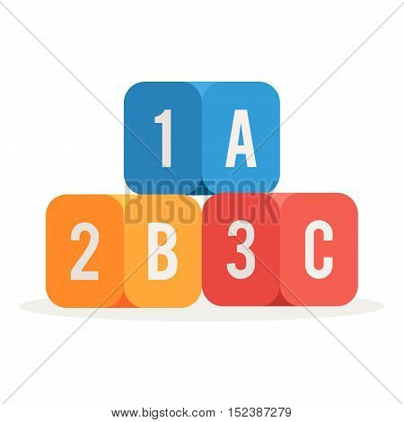 Colorful kids alphabet cubes with A, B, C letters and numbers. vector illustration isolated on white background in trendy flat style design