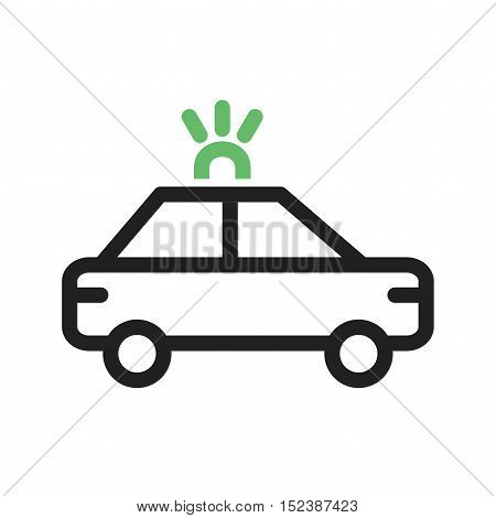 Police, car, patroling icon vector image. Can also be used for vehicles. Suitable for mobile apps, web apps and print media.