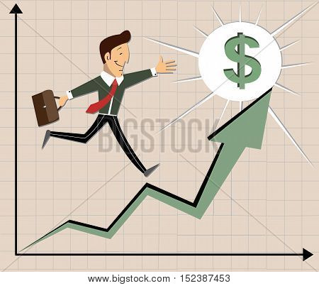 Business illustration. The graph of profit growth. Businessman with a briefcase was promoted. Sales growth. The dollar prize. vector