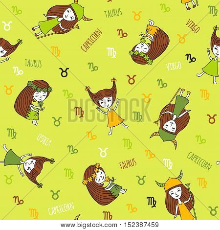 Seamless pattern with cute girls. Zodiac signs Taurus, Virgo and Capricorn. The element of earth. Cute characters hand-drawn on a green background. Funny horoscope.