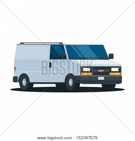 White van. Delivery auto transport cargo in trendy flat design. Vector illustration isolated on white background