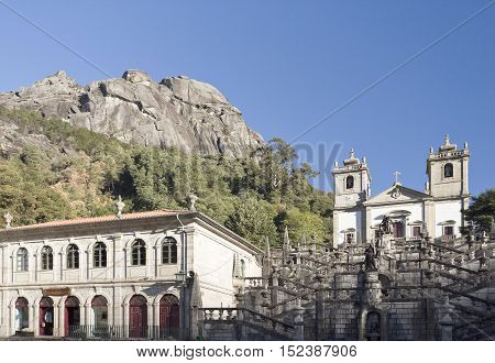 PENEDA, PORTUGAL - October 8, 2016: View of the Sanctuary of Our Lady on the side of an enormous rock cliff in the Peneda Geres National Park North of Portugal