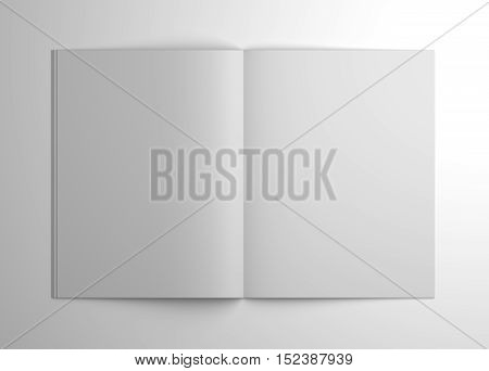 Blank open brochure or magazine isolated on gray with shadows. 3d illustration mockup.