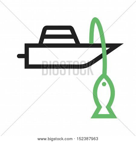 Fishing, boat, sea icon vector image. Can also be used for vehicles. Suitable for mobile apps, web apps and print media.