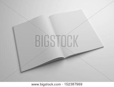 Blank opened magazine mock-up. 3D illustration template.