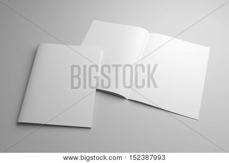 Blank opened magazine mock-up with cover. 3D illustration template.