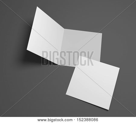 Blank opening square two-leaf greeting card or brochure isolated on dark gray. 3d rendering mockup.