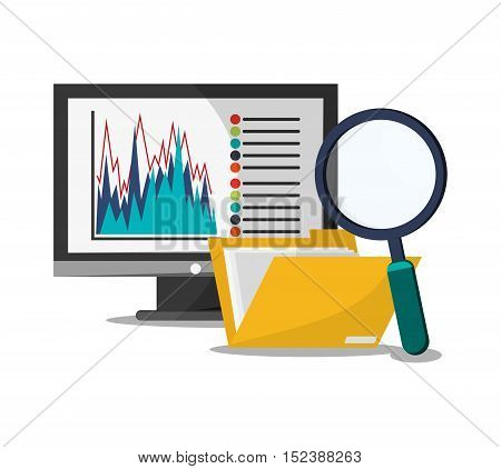 Computer file and lupe icon. Infographic data and information theme. Colorful design. Vector illustration