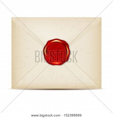 Paper envelope with TOP SECRET wax seal - isolated on white background. Vector illustration.