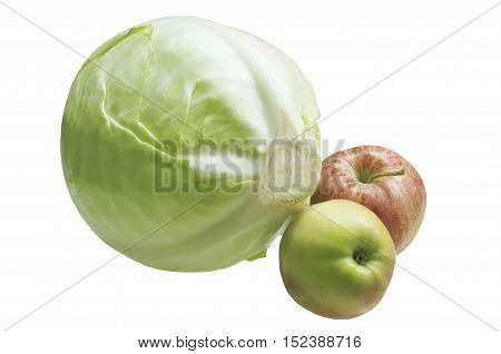 Head of cabbage and two apples. Ingredients for cooking