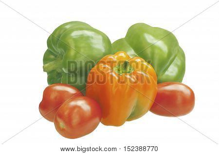 Three sweet peppers with tomatoes. Ingredients for cooking