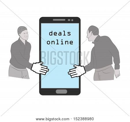 sales concept on the Internet. online transactions. vector illustration