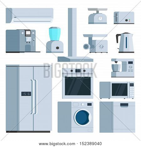 Kitchen appliance equipment object set: fridge, toaster, coffee machine, washing machine, air conditioner, meat Mincer, microwave, kettle. Vector illustration isolated trendy flat style design