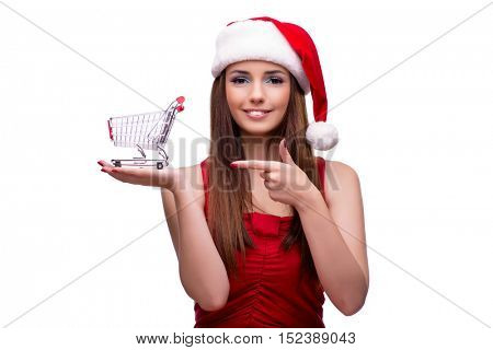 Cute girl in christmas concept isolated on white