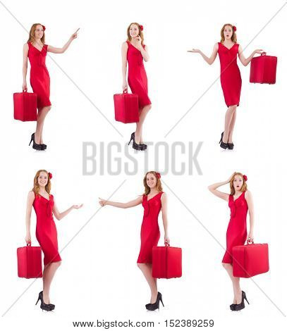Young woman in red dress with suitcase isolated on white