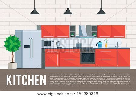 Kitchen interior design. Furniture and kitchen appliances objects, elements and equipment. Flat Design Vector Illustration trendy flat graphic design concept for web banner and printed materials