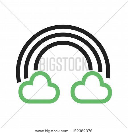 Cloudy, rainbow, sky icon vector image. Can also be used for spring. Suitable for use on mobile apps, web apps and print media.