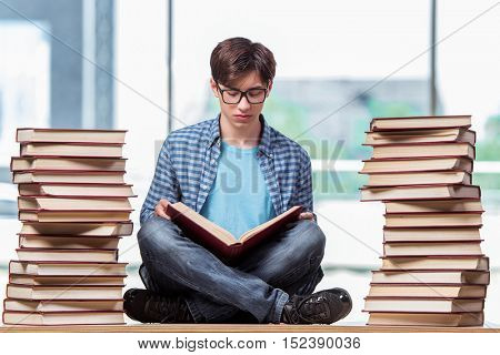 Young student under stress before exams