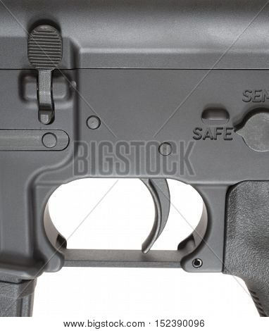 Magazine release and safety and trigger on an Ar-15