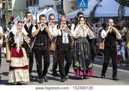 SELARGIUS, ITALY - September 11, 2016: Former marriage Selargino - Sardinia - group of musicians who parade in traditional Sardinian costume