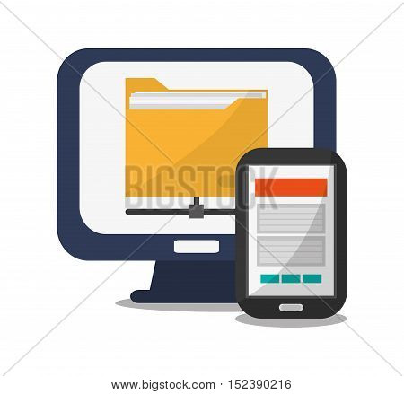 Smartphone computer and file icon. Social media marketing communication theme. Colorful design. Vector illustration