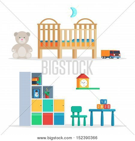 Scene baby room with furniture and toys. Vector illustration in trendy design isolated on white background for publications and promotional materials