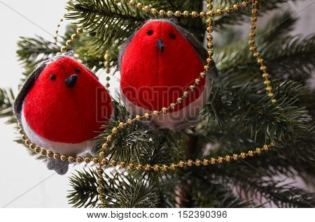 Two decorative felt birds on fir or pine tree branch. Christmas or New Year festive background.