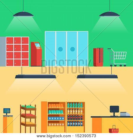 Shop, supermarket interior: entrance, showcase, fruits, vegetables, drinks, ATM, shopping cart, checkout Vector illustration in flat style for web banners and print