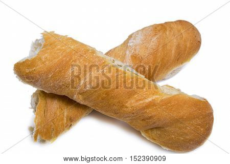 a fresh French baguette for breakfast isolated on white background