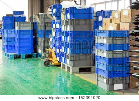 Bright Color Plastic Containers Piles. Horizontal shot
