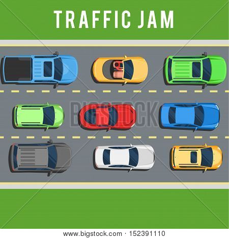 Traffic jam, transport collapse on road. Many cars on road top view concept. Color Flat style vector illustration background for web design or print