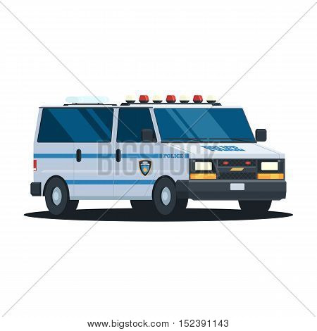 Van Police Department with flashing lights on the roof. Police car, vehicle in trendy flat design. Vector illustration isolated on white background