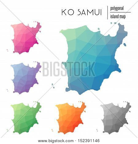 Set Of Vector Polygonal Ko Samui Maps Filled With Bright Gradient Of Low Poly Art. Multicolored Isla