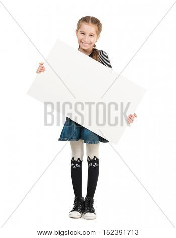 pretty smiling schoolgirl with blank sheet in hands isolated on white background