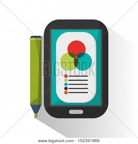 Smartphone and marker icon. Infographic data and information theme. Colorful design. Vector illustration