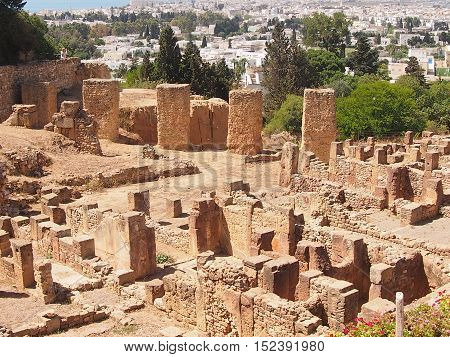 Ruins of ancient Carthage in the state of Tunisia