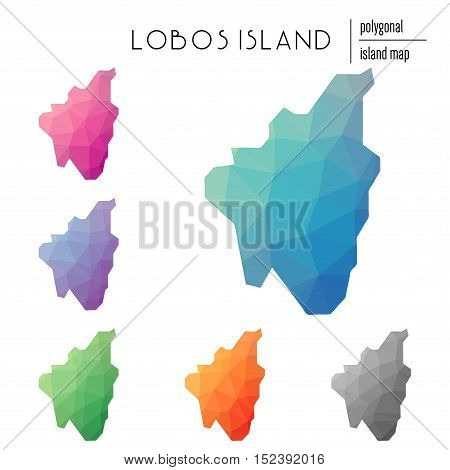 Set Of Vector Polygonal Lobos Island Maps Filled With Bright Gradient Of Low Poly Art. Multicolored
