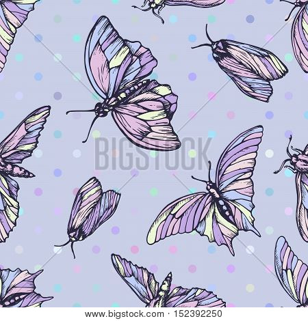 Vector seamless pattern with butterflies in soft colors. Stylish graphic texture. Repeating print on pastel blue background and colorful dots.