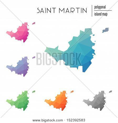 Set Of Vector Polygonal Saint Martin Maps Filled With Bright Gradient Of Low Poly Art. Multicolored