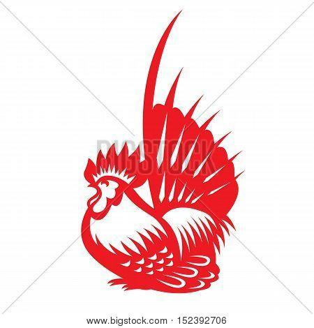 Red paper cut a chicken bantam zodiac symbols