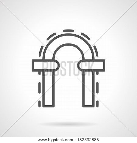 Elements of architecture and construction. Arched doorway with round arch and decorative stones on columns. Black simple line style vector icon.