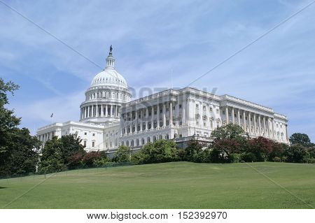 The view of Capitol Building in Washington DC, USA.